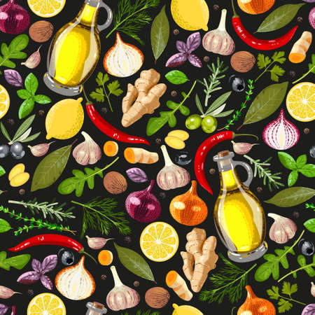 Different spices and herbs vector seamless background Vectores