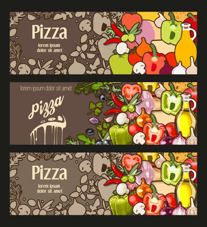 pizza ingredients: Vector flyer decorated with ingredients for pizza