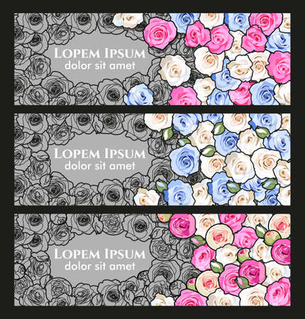 flier: Vector vintage flier with colorful and monochrome roses Illustration