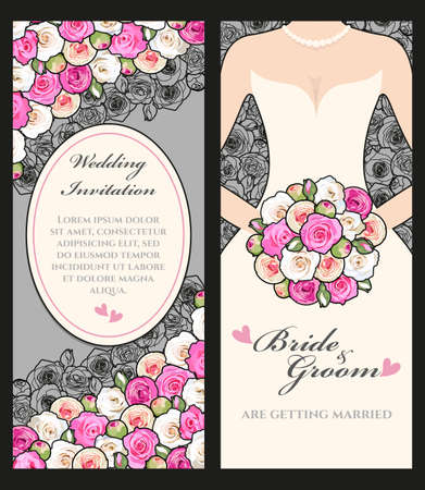 married couples: Illustration of wedding invitation with bride and roses