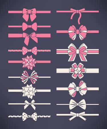 Vector set of white and pink bows