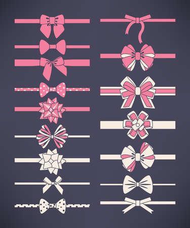 Vector set van witte en roze strikjes