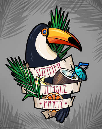 polynesian ethnicity: Vector illustration of toucan and tropical cocktail