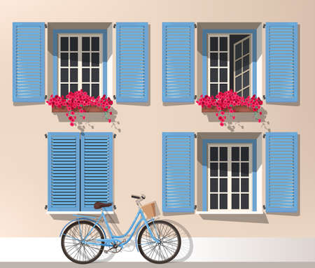 Illustration of windows with shutters and bicycle