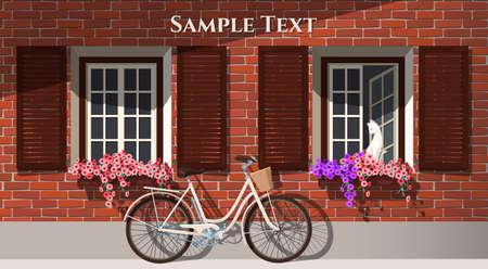 fachada: Ilustración de la casa de ladrillo con las flores y la bicicleta