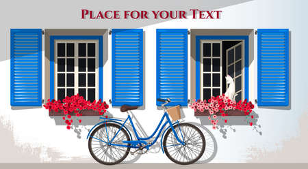 french countryside: Illustration of windows with shutters and bicycle