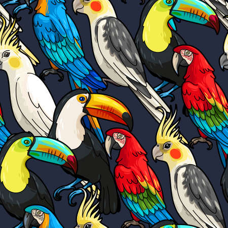 jungle green: Vector macaw, toucan and cockatoo seamless background Illustration