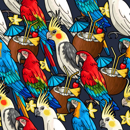 macaw: Seamless macaw, cockatoo and tropical cocktail vector background