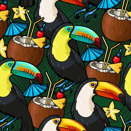 coctel de frutas: Tucán fisuras y cóctel tropical en el fondo del vector de coco
