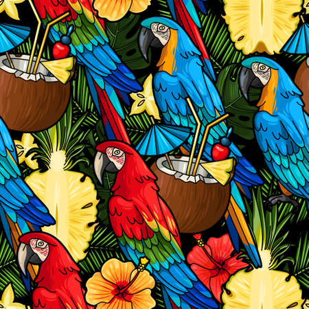 macaw: Macaw and tropical cocktail vector seamless background