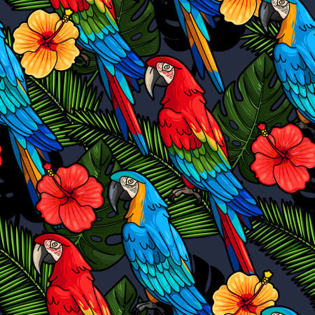 Macaw and hibiscus flowers vector seamless background