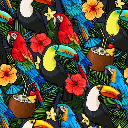 Macaw, toucan and tropical cocktail vector seamless background