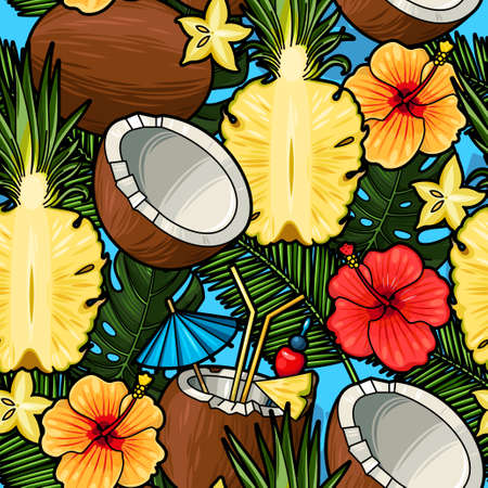 swimwear: Tropical cocktail and pineapple seamless vector background