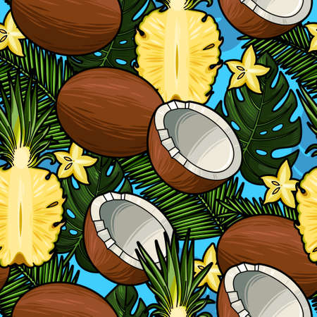 Coconut, pineapple and palm leaves seamless vector background