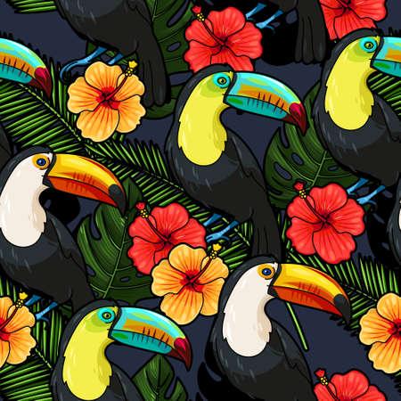 animales del bosque: Tucán y flores de hibisco vector de fondo sin fisuras Vectores