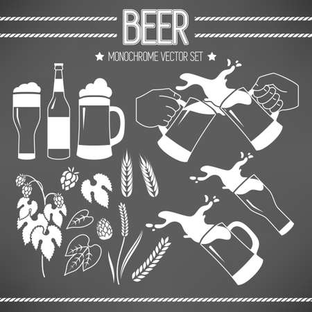drink bottle: Monochrome vector set of beer, wheat and hops Illustration