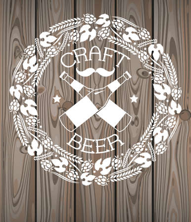 drink bottle: Illustration of decorative monochrome craft beer logo