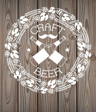 wood craft: Illustration of decorative monochrome craft beer logo