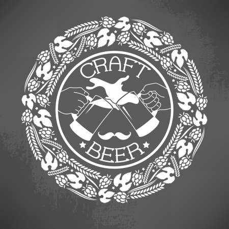 brew: Illustration of decorative monochrome craft beer logo