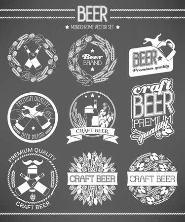 beer label design: Monochrome vector set of beer labels and logos