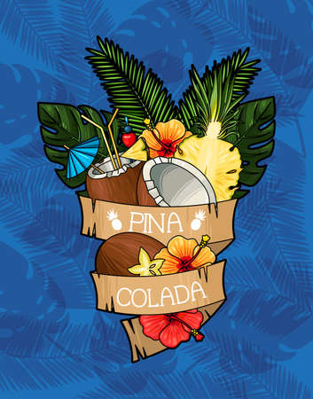 Vector illustration of pina colada cocktail ingredients