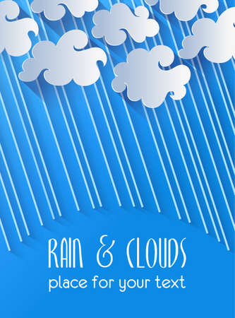 raincloud: Illustration of clouds and rain on blue background Illustration