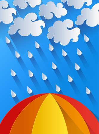 rain weather: Illustration of rain, clouds and colorful umbrella