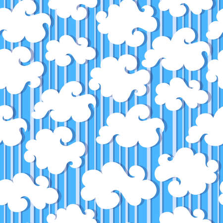 fine weather: White clouds and blue sky vector seamless  background Illustration
