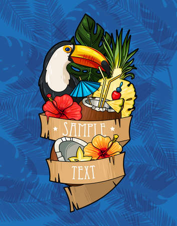 green background: Vector illustration of toucan and tropical cocktail