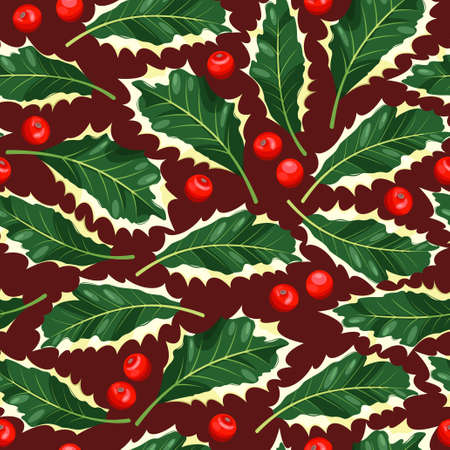 holly day: Holly leaves and berries seamless vector background