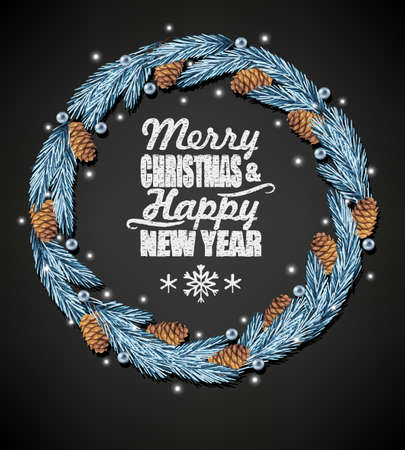 spruce: Spruce christmas wreath and chalk letters on black background Illustration