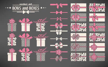Vector Reihe von einfachen Bogen und Geschenk-Boxen