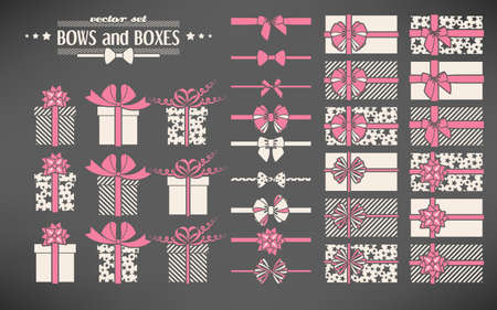 christmas bow: Vector set of simple bows and gift boxes