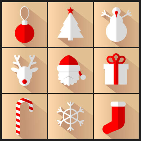 ilustracion: Vector set of new year and christmas pictures Vectores