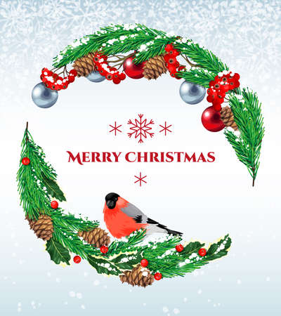 bullfinch: Vector christmas vintage postcard with bullfinch and rowan branch Illustration