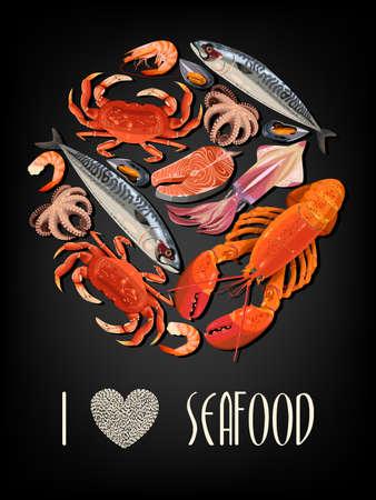 Vector illustration of fresh seafood on black background