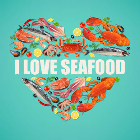 fresh seafood: Vector illustration of fresh seafood on blue background