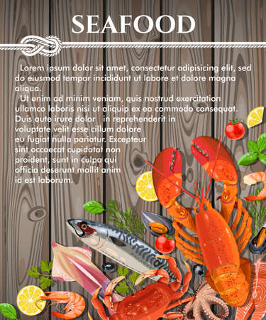Vector illustration of fresh seafood on wooden background with copy space Vectores