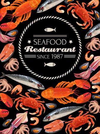 mariscos: Ilustración del vector de pescados y mariscos frescos en el fondo negro Vectores
