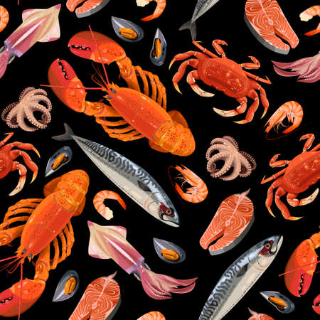 high detailed: High detailed fresh seafood seamless vector background