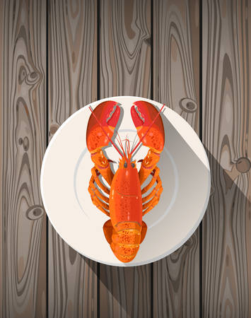 boiled: Lobster on white plate on wooden background