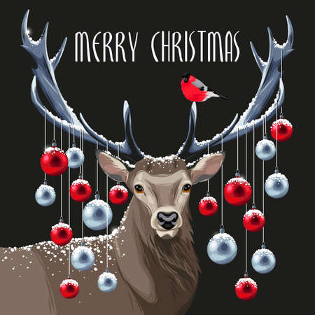 Postcard with christmas deer and christmas tree toys on its horns Illustration