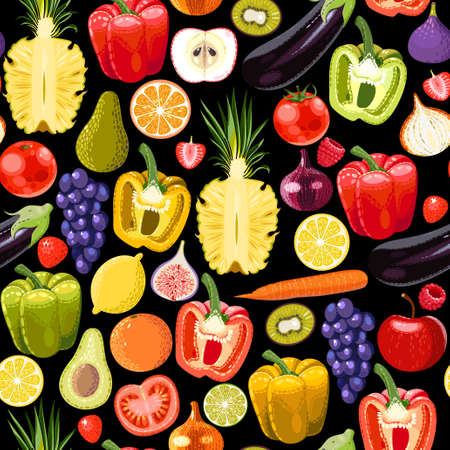tomato cartoon: Different fruits and vegetables vector seamless background