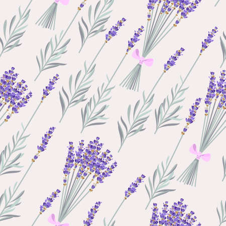 Bouquets and branches of lavender vector seamless background