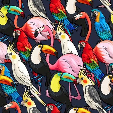 black bird: Colorful exotic birds on dark background vector seamless pattern