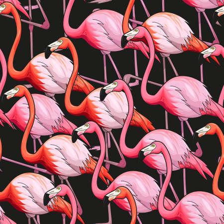 Colorful flamingo on black background vector seamless pattern Illustration