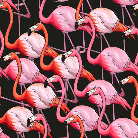Colorful flamingo on black background vector seamless pattern Stock Illustratie