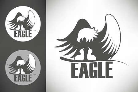 patriotic eagle: Logo with bald eagle with chicks in the nest Illustration