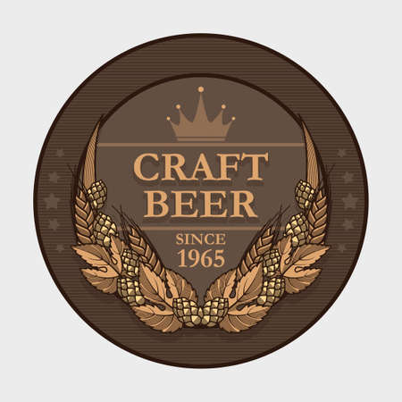 craft product: Vector craft beer label decorated with wheat and hops