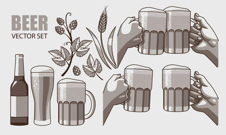 hops: Monochrome graphic set of beer, wheat and hops Illustration